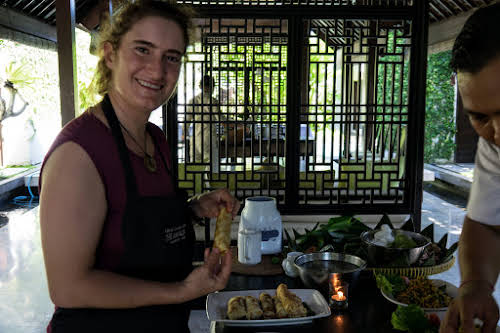 Indonesia. Bali Cooking Class. Successful crepe wrap!