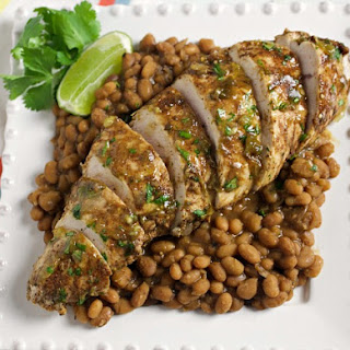 Instant Pot Salsa Verde Turkey and Beans.