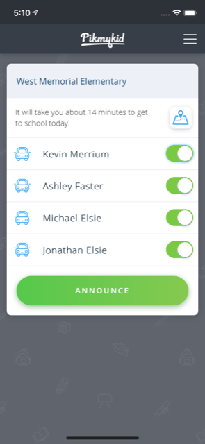 PikMyKid Announce Screen, Hands-Free Florida, text and drive, School safety