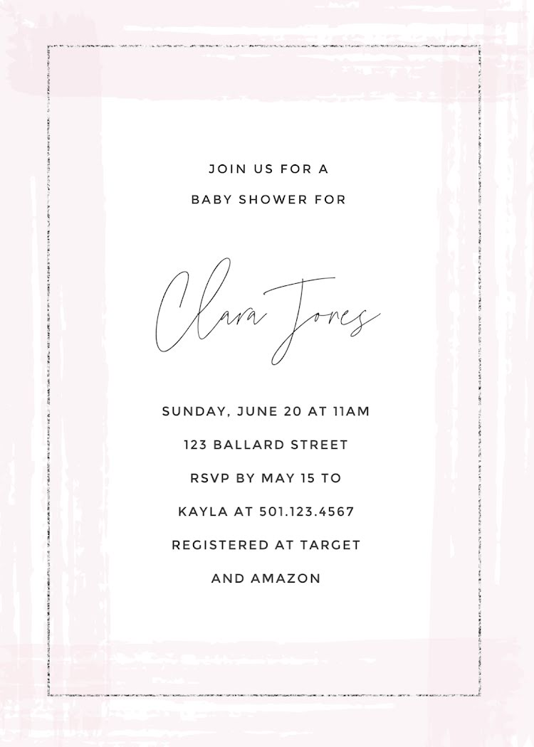 Clara Jones Baby Shower - Baby Card Template