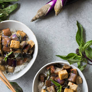 Vegan Stir-Fried Garlic Tofu and Eggplant.