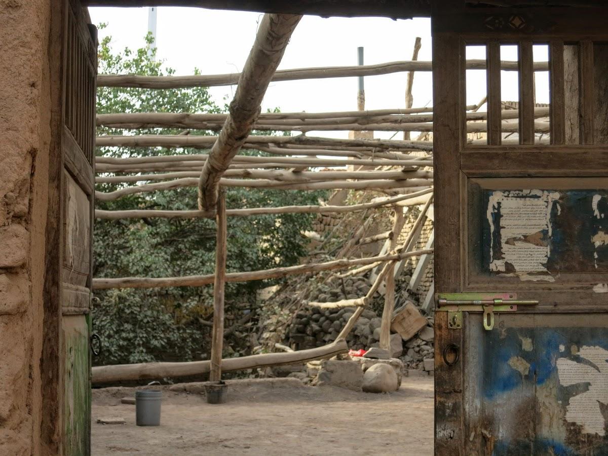 China. Xinjiang Turpan . Wooden Frames to hold vines