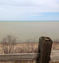 Photo: Lake Huron with a ship far off on the horizon