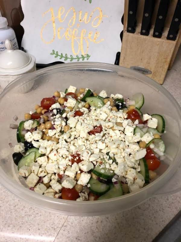 Chickpea Salad W/ Cucumber Tomatoes And Feta