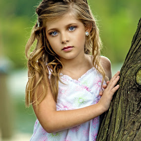 Chloe by tree by Sylvester Fourroux - Babies & Children Child Portraits