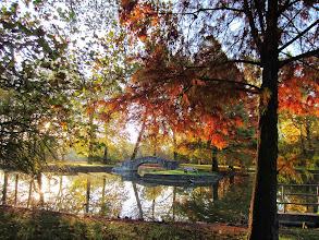 Photo: Bridge between colorful autumn leaves at Eastwood Park in Dayton, Ohio.