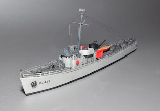 Photo: 173' Bluffton-class subchaser from bow 3/4 port. The US built 450 of these in 30 months, some along riverbanks with not much more than keel blocks and tall stepladders. The railings are custom photo-etch brass with the correct spacing of stanchions and modeling the bottom catch netting. The mast is made from stepped brass tubing of correct scale.