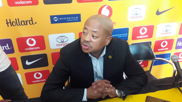 Kaizer Chiefs football manager Bobby Motaung speaks to the media during a press conference at their base in Naturena, south of Johannesburg, on Monday December 10 2018.