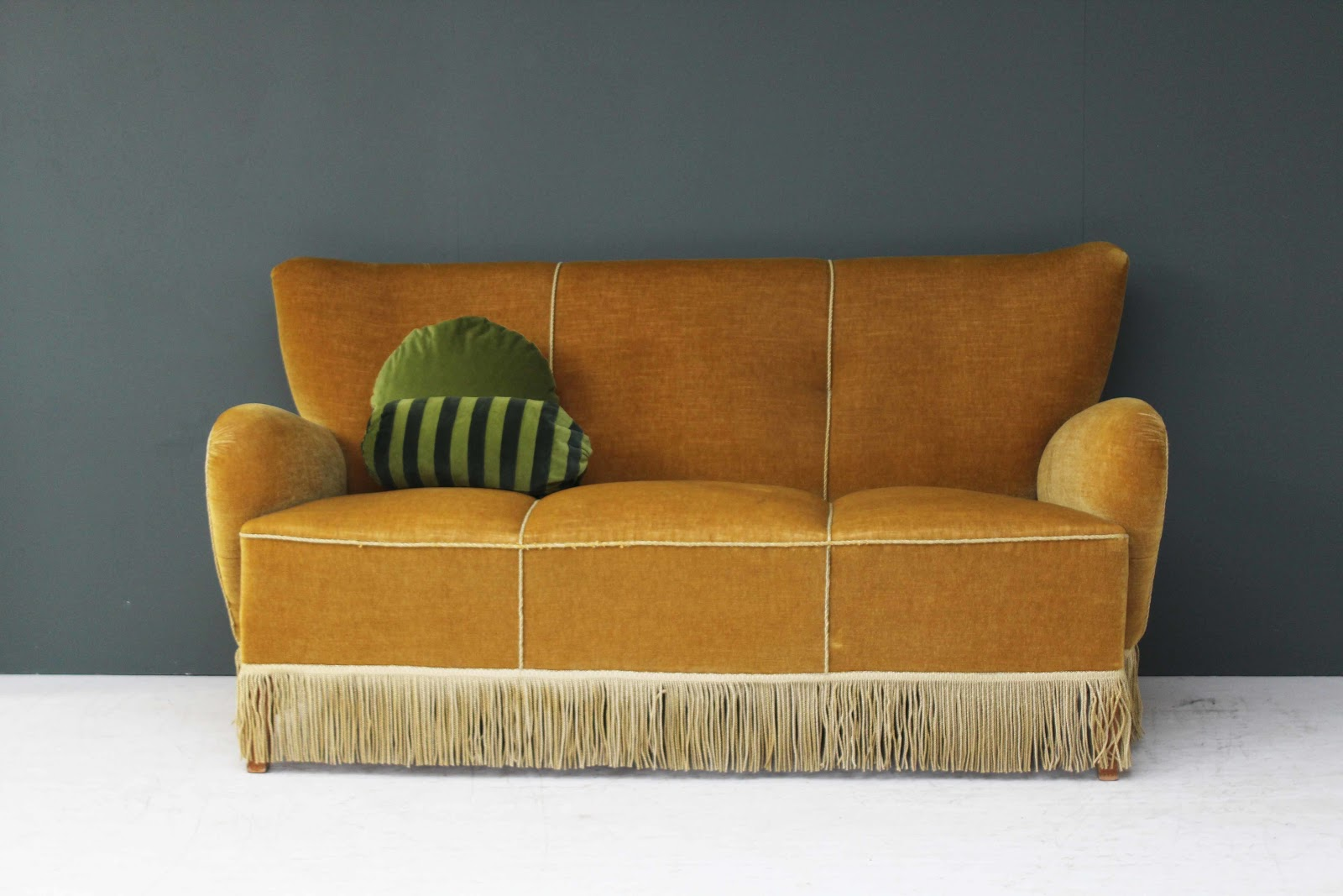 Vintage 1930s two seater sofa with fringing