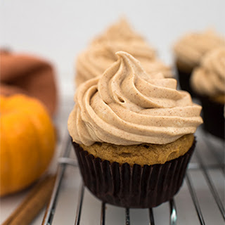 Pumpkin Spice Cupcakes with Brown Sugar Cream Cheese Frosting.
