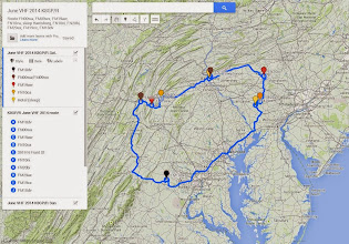 Photo: K8GP / Rover initial route plan - ARRL June VHF 2014