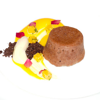 Dark Chocolate Fondant, Orange Curd and Orange Salsa