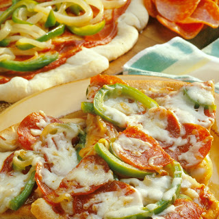 Pepperoni Pizza with Peppers.
