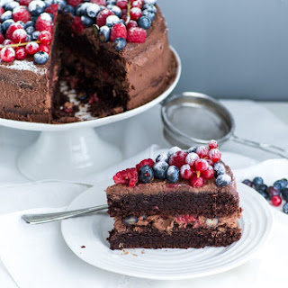 Chocolate Mascarpone Cake with Berries.