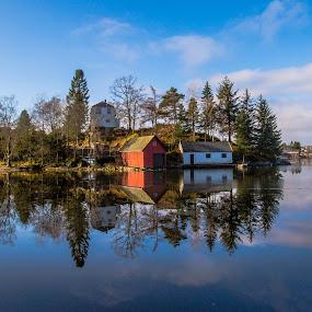 Skjoldbukten by Espen Rune Grimseid - Landscapes Waterscapes ( canon, bergen, water, heaven, silhouette, reflections, lake, landscape, skjoldbukten, norway, nature, light, nordåsvannet )
