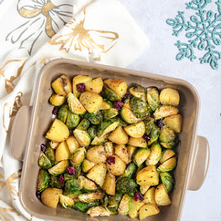 Roasted Brussels Sprouts with Potatoes and Cranberries.