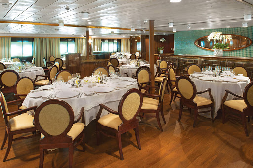 silver-discoverer-dining-room.jpg - The dining room aboard the luxury expedition ship Silver Discoverer from Silversea.