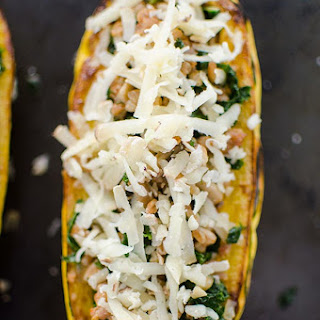 Kale and Farro Stuffed Delicata Squash.