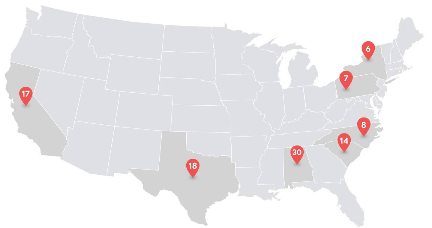 Map of the US showing the location of some of the schools that have signed on the Dynamic Learning Project.