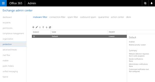 Exchange Online Protection Malware Filrer