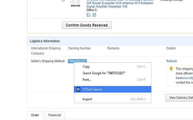 17Track Search chrome extension