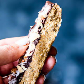 Salted Dark Chocolate Coconut Almond Protein Candy Bars.
