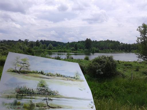 aquarelle en plein air Jeanne PAPA Fontainebleau