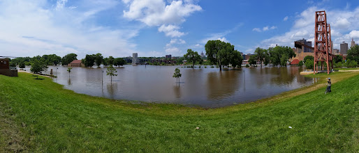 Photo: Heriet Island Park completely flooded - panorama view.