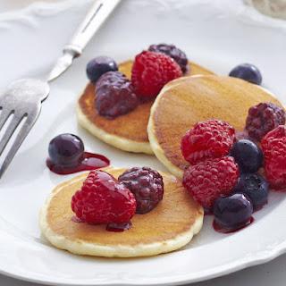 Vanilla Pancakes with Cinnamon Ricotta and Berries.