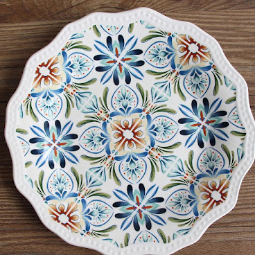 Country style plate - blue