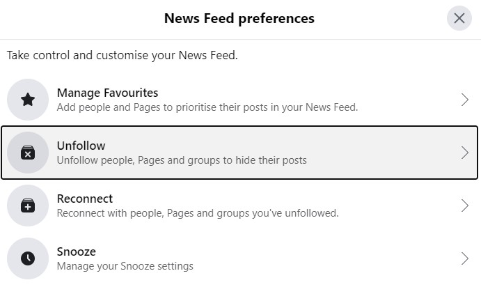click unfollow in settings and privacy
