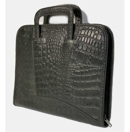 Portfölj/Laptop i alligatormönstrat buffelläder 4-fack - Grön