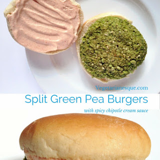 Split Green Pea Burgers with Spicy Chipotle Sauce.
