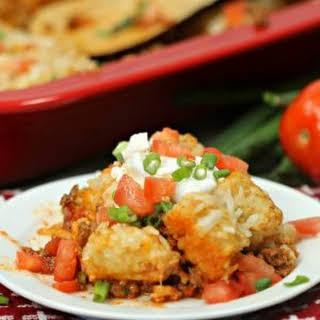Easy Beef Enchilada Tator Tot Casserole.