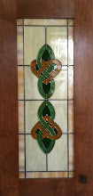 Photo: Celtic Love Knot Cabinet, Irish stained glass cabinet glass. Leaded glass, kitchen, curio, pantry, armoire. Custom handmade beautiful glass