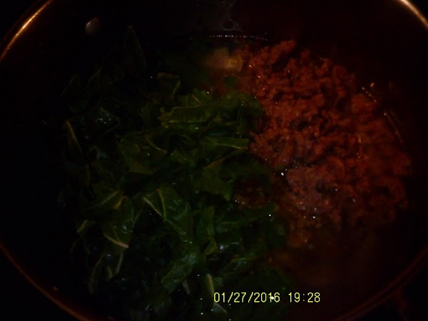 Add sausage and chard to broth.  Cook until chard has wilted about 5...