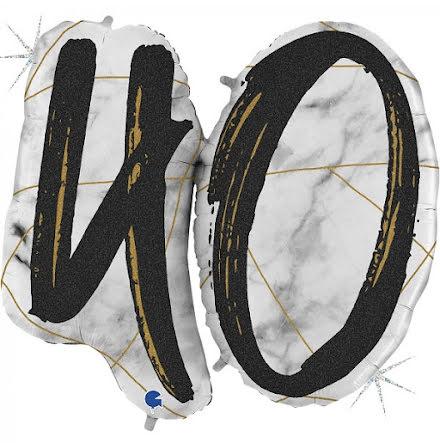 Folieballong - 40 marble - svart