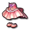 ピンクのシフォンドレス