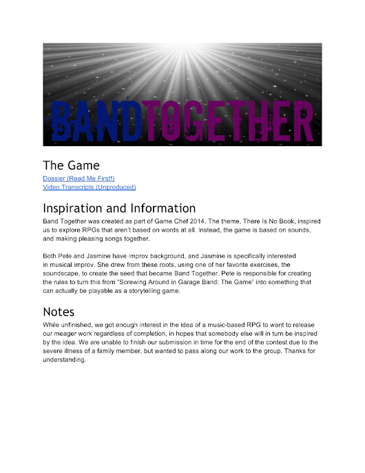 Band Together - Game Chef 2014 - Jasmine Davis & Pete Butler
