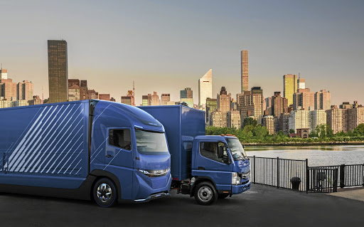 The E-Fuso Vision One with the eCanter.    Picture: DAIMLER