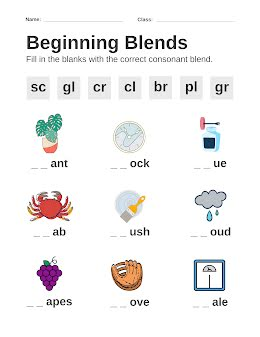 Beginning Blends - Worksheet item