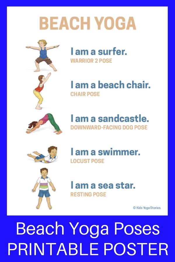 Beach Yoga Poses For Kids Printable Poster Kids Yoga Stories Yoga Resources For Kids