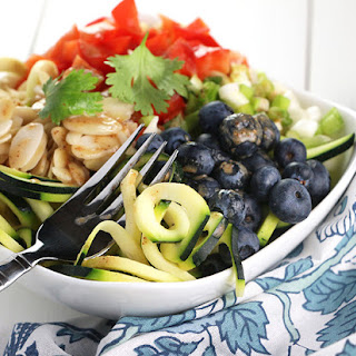 Rainbow Zucchini Noodle Salad with Blueberries.