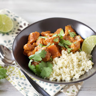 Slow Cooker Butter Chicken with Sweet Potatoes and Cauliflower Rice.