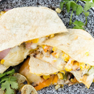 Smoky Grilled Chicken & Vegetable Quesadillas.