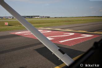 Photo: Holding før take-off på bane 27 på Billund Lufthavn