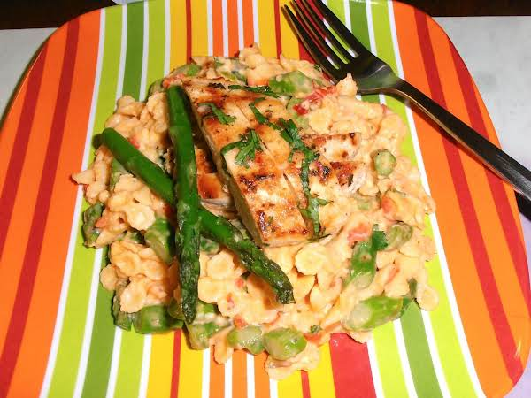 Spicy Pimento Cheese Asparagus Chicken Pasta Salad