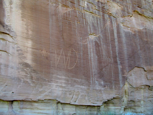 Petroglyphs and a big W.D.