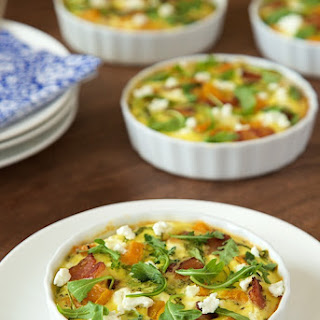 Crustless Mini-Quiches with Butternut Squash, Bacon and Goat Cheese.