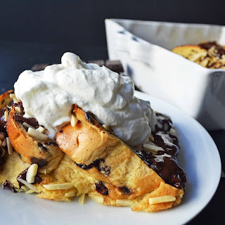 Chocolate Almond Brioche Baked French Toast.